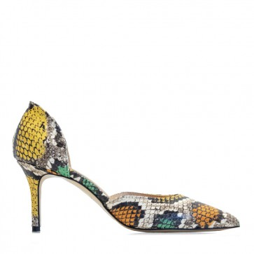 Snake printed leather pumps