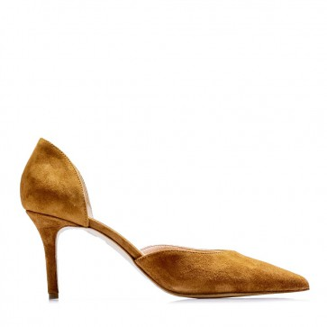 Suede leather D'Orsay pumps