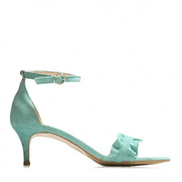 Suede leather sandals with frills