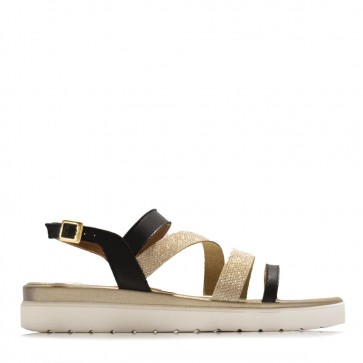 Calf leather sandals with rhinestone bands