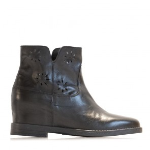 Black calf leather booties