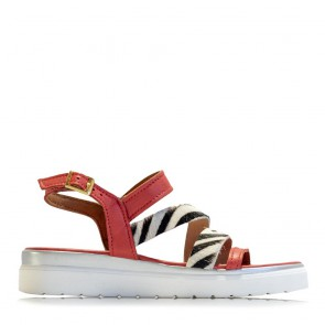 Calf leather sandals with hairy leather bands